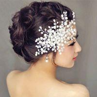 Gelin saç aksesuarları gelin evli Kore çiçek kafa çiçek el yapımı kristal boncuklu headdress evli inci tarak