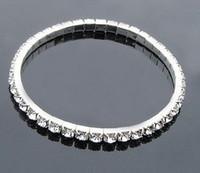 En stock Elástico dos filas Rhinestone perla pulseras de la boda del partido joyería nupcial partido de las mujeres accesorios nupciales