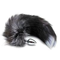 Siyah Sahte Fox Tail Yetişkin Seks Oyuncak Anal Plug Eklemek Stoper Popo Oyuncak Seks Ürün # T701