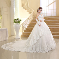 2018 New Bridal Wedding Gowns Ball Gown Long Train Lace Up S...