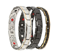 Mode Für Männer Armbänder 316 Edelstahl Gesundheitswesen Magnetische Armband Link Armband Gold Schwarz Überzogene Armreif Für Männer