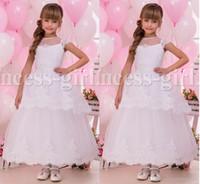 2016 Weiß Arabisch Spitze Sheer Neck Tüll Blumenmädchenkleider Vintage Kind Pageant Kleider Schöne Blumenmädchen Brautkleider F31