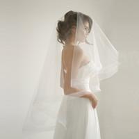Ivoire Heinhair Ruban Veil de mariage avec blusher Bridal goutte voile Veil de mariage avec peignes cercle un couche voile de mariage