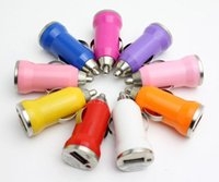 Colorful Bullet Mini USB Car Charger Universal Adapter for i...