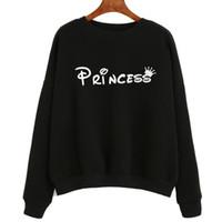 Atacado - mulheres camisolas princesa carta impressa manga longa feminina femininas casuais hoodies soltas polerones mujer # A11