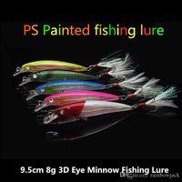 9.5 cm 8g ABS Plastik Minnow lazer bas cazibesi 5 renkler Tatlısu Crankbait yem Tüy Balıkçılık kanca