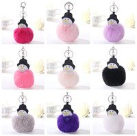 High quality Cartoon snowman hair ball key chain creative ac...