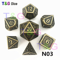 DD 7 unids / set Creative Multi-faceted Metal Dice Playing Games Dado D4 D6 D8 D10 D10% D12 D20 Set de dados