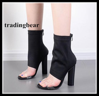 Sexy Thick Heels Black Elastic Cloth Open Toe Ankle Boots Wo...