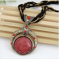 New Fashion Boemia Style Multi Layer Beads Statement Catena Vintage Retro Big Round Gemstone Collane con ciondolo per le donne