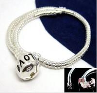 Atacado em Granel Baixo Preço 10 pçs / lote Cobre Prata Carimbada Carimbo Serpente Cadeia Pulseira Fit Encantos Europeus Beads 16 cm a 23 cm