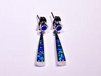 Großhandelseinzelverkauf-Art- und Weiseblauer weißer mehrfarbiger feiner Feuer-Opal-Ohrringe 925 versilbern Schmucksachen EJL1631005