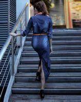 150pc otoño nueva moda mujer vestido de mezclilla casual suelta suelta camiseta de manga larga camiseta más tamaño envío gratis