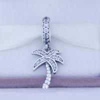 Бусины подходит для Пандора стиль браслеты аутентичные стерлингового серебра 925 бусины Пальма серебро мотаться с кубического циркония мода подвески