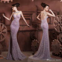 2017 Handsome purple Sequined Mermaid Long Evening Party Dre...