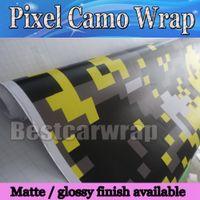 Estilo de envoltura de vinilo amarillo de Tiger Camo de vinilo digital con burbujas de aire Gráficos de camuflaje de píxeles gratis Película de calcomanías para automóviles 1.52x30 m / rollo 5x98ft