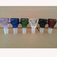 2016 Skull Glass Bowls 14mm 18mm glass water pipes male bowl...