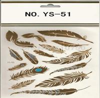 Plume Design 1 Feuille Flash Tatouage Or Temporaire Tatouages Glitter Autocollants Sexy Produits Papier Pour FemmesHommes tatuagem metalica HJIA655