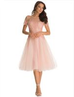 Fshion Applique rosa Prom Vestidos Sexy Sheer Neck Backless Prom Vestidos Curto sem mangas Altura do Joelho Vestidos de Baile Lovely Pink Party Dress
