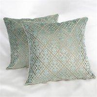Lujo verde chino Terciopelo del corte del amortiguador de la tela cubierta de la funda de almohada del sofá del coche almohadilla del amortiguador de textiles para el hogar suministra Preferencia