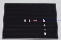 """14 """"عرض علبة خاتم حامل علبة مجوهرات في الأسود المخملية أزرار أكمام تخزين عرض لوحة أقراط الزر حالة يمول"""