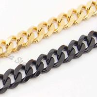 """بيع حسنا الرجال 8MM 18 """"-36"""" الذهب الأسود 316l الفولاذ المقاوم للصدأ كبح سلسلة قلادة"""