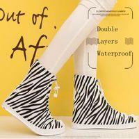 60pcs 2016 PVC Überschuhe Frauen Regen Stiefel Galoschen wiederverwendbare Schuhabdeckungen Zebra drucken wasserdicht tragen direkt gewaschen ZA0510