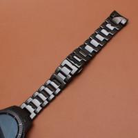 Nouveautés Style Bracelet de montre en céramique poli en céramique bracelets de montre bracelet 22mm extrémité incurvée ajustement smart montre-équipement gear S3 frontier