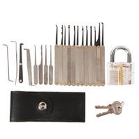 15pcs Déverrouillage Serrure Tool Tool Crochet Serrure Picks Tools de serruriers + 5pcs Verrouiller les outils d'outils avec des serrures de cadenas de pratique transparente