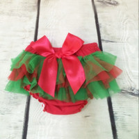 Ready To Ship Wholesale Christmas Tutu Bloomer Red Green Chi...