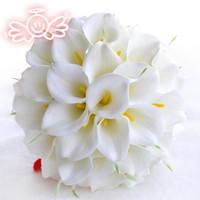 Jane Vini 30 Beyaz Calla Zambak Yapay Gelin Düğün Çiçek Buketi Dantel Kolu Sarı Gelin Buketleri Kristal Düğün Buket Aksesuarları