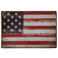 Bandera de EE. UU. Retro rústica muestra de metal de estaño Decoración de La Pared Cartel de Estaño de La Vendimia Cafe Shop Bar decoración del hogar