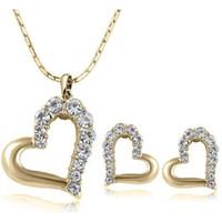 marca frete grátis dom natal novo 24k 18k amarelo do coração de ouro pingente de colares colar de jóias venda quente forma gemstone cristal