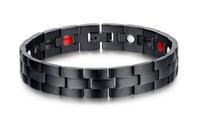 Braccialetto sano libero di energia dei monili sani casuali di trasporto per gli uomini braccialetti di terapia del magnete di collegamento chain nero dell'acciaio inossidabile 12.7mm largamente