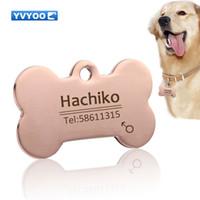 YVYOO Incisione gratuita Pet Dog cat collar accessories Decorazione Pet ID Dog Tags Collari in acciaio inox cat tag tag personalizzato