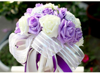 Hot Sale! colorful Rose Silk Ribbon Artificial Wedding Flowers Bridal Bouquets Handmade Bridesmaid Flowers Free Shipping