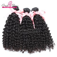 """Chinese Human Hair Weave Double Weft Extensions 8""""~30"""" Curly Wave Unprocessed Virgin Hair Natural Color Dyeable 7A Retail 3pcs Greatremy"""