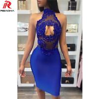 Reaqka vestito sexy da donna estate 2017 abiti da festa vintage club wear bodycon da sera in pizzo Hollow senza maniche Off spalla dress XL q1113