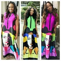 african clothes summer dress women head sculpture print chif...