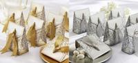 Fashion Gold Sliver Favor de los titulares para la novia de la boda Envío gratis Designer barato Boda Candy Candy Cajas 50 piezas / lotes