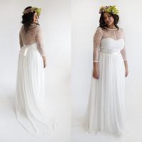 Long Sleeve Chiffon A Line Wedding Dress Illusion Bodic Stra...