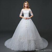 2018 New Bridal Wedding Gowns Ball Gown Long Train Off Shoul...