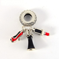S925 sterling silver charms dangle lipstick authentic fits f...