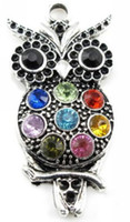 30Pcs Tibetan Silver Crystal Owl Charms Pendant For Jewelry ...