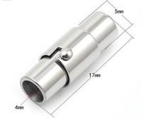 El acero inoxidable 316L magnético gira el broche de la hebilla para el collar DIY de la pulsera del cordón de cuero, diámetro interno 4mm, 20pcs / lot