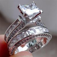 Luxe 100% vraiment argent 925 bague ensemble 2 en 1 bijoux de mariage bande pour les femmes 15ct 7 * 7 mm princesse coupe topaze pierres précieuses doigt