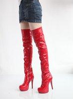Сапоги лакированная кожа белый выше колена свадебные туфли невесты красный плюс размер 40 41 42 высокий каблук 13 см платформа 3 см EUR размер 34-43