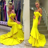 Bright Yellow Off Shoulder Mermaid Evening Gowns 2016 Satin ...