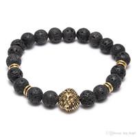 Lava Naturstein Elastische vulkanische Rock Charm Armbänder Lion Head Perlen Charms Armbänder Gebet Perlen Armband Handgemachte Diffusor Schmuck