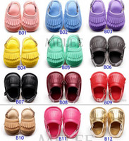 Baby PU leather moccs rubber first walker shoes Tassels moca...